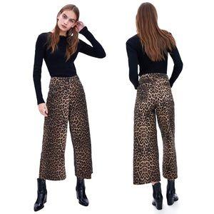ZARA Leopard Print Wide Leg Cropped Culotte Jeans